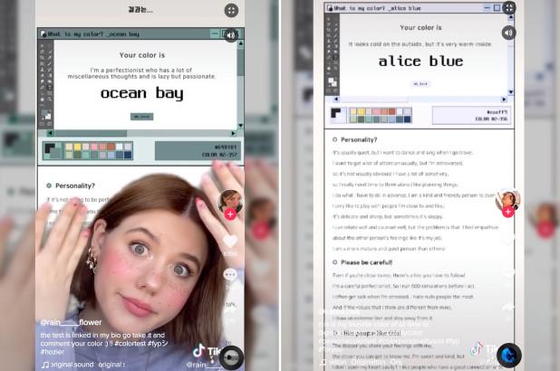 TikTok'a, renk kişilik testi özelliği