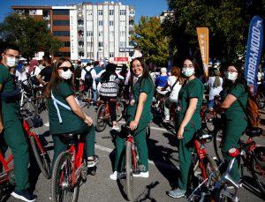 Sağlık çalışanları, Kayseri'de pedal çevirdi
